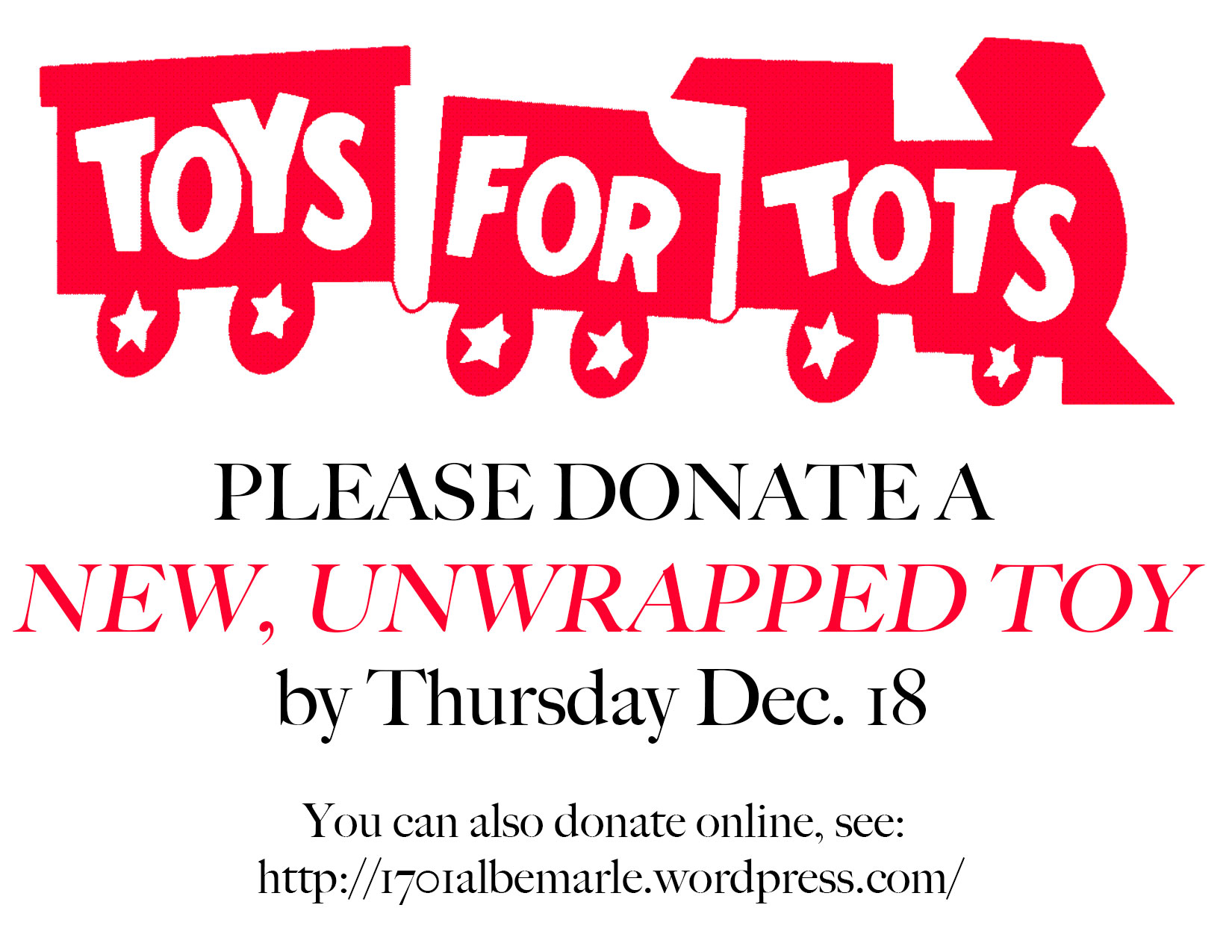 Sample Letters Toys For Tots : Community events albemarle road